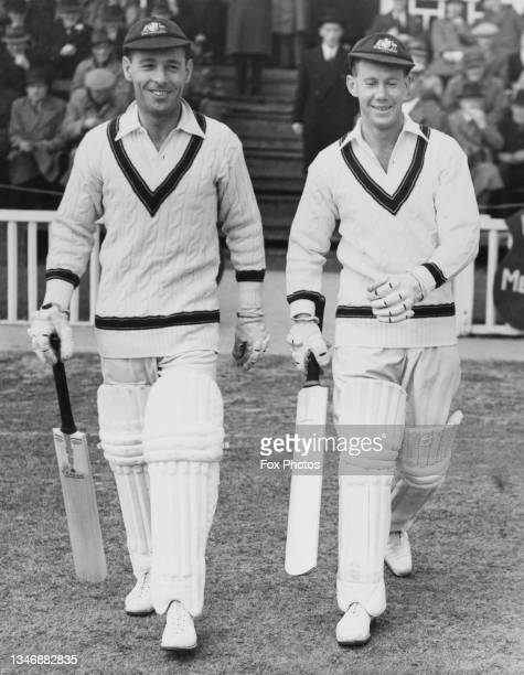 Jack Fingleton and Bill Brown of Australia walk out to bat on the opening day of the match against Worcestershire County Cricket Club on 30th April...