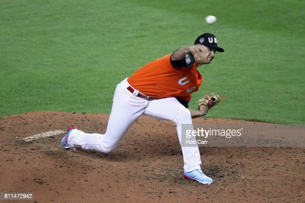 Jack Flaherty of the St Louis Cardinals and the US Team pitches against the World Team during the SiriusXM AllStar Futures Game at Marlins Park on...