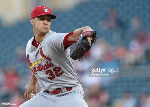 Jack Flaherty of the St Louis Cardinals delivers a pitch against the Minnesota Twins during the first inning of the interleague game on May 15 2018...