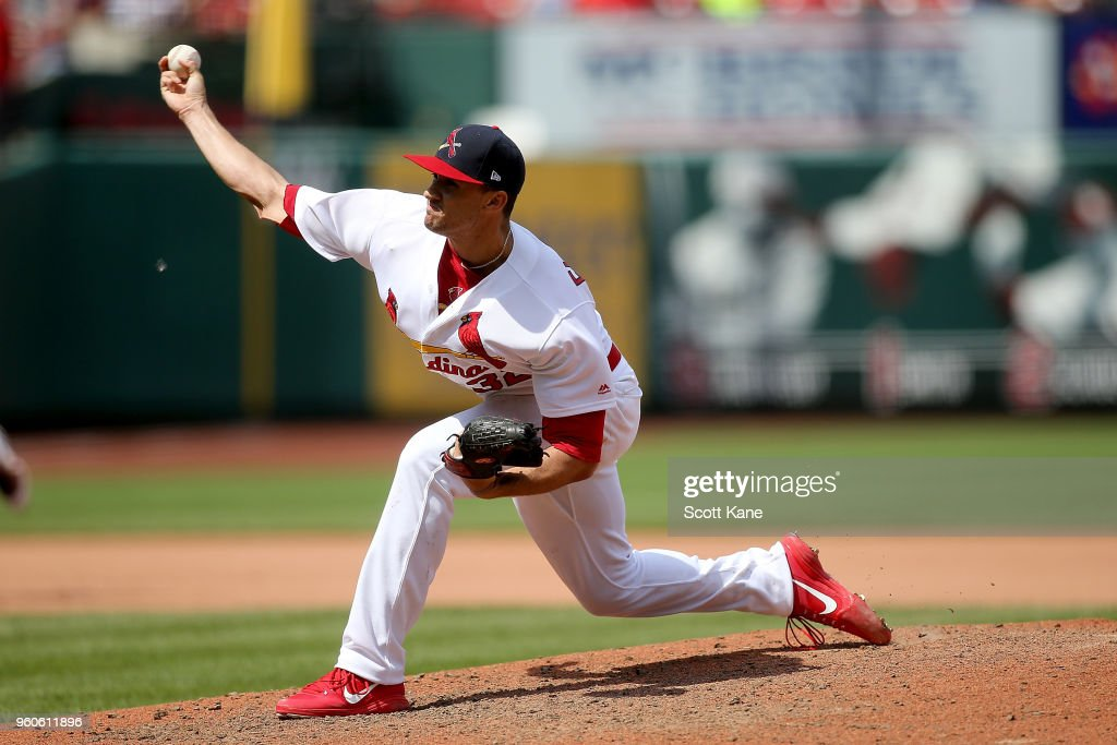 Jack Flaherty #32 of the St. Louis Cardinals pitches during the seventh inning against the Philadelphia Phillies at Busch Stadium on May 20, 2018 in St. Louis, Missouri.