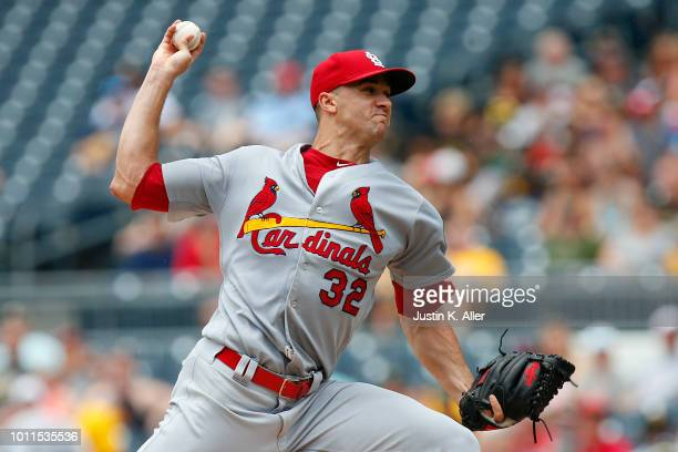 Jack Flaherty of the St Louis Cardinals pitches in the first inning against the Pittsburgh Pirates at PNC Park on August 5 2018 in Pittsburgh...
