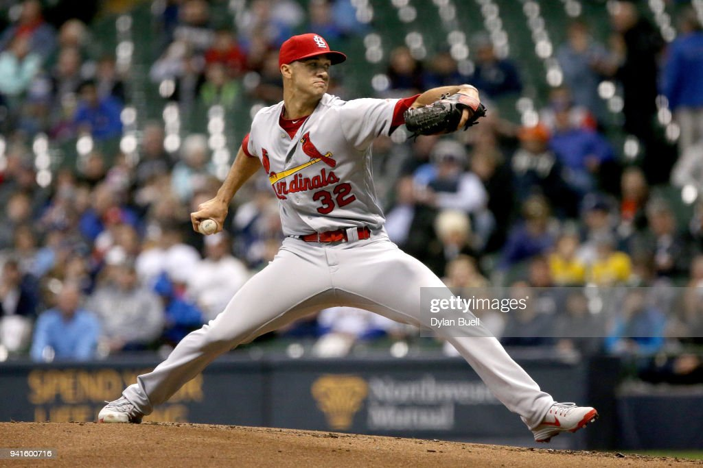 Jack Flaherty #32 of the St. Louis Cardinals pitches in the second inning against the Milwaukee Brewers at Miller Park on April 3, 2018 in Milwaukee, Wisconsin.
