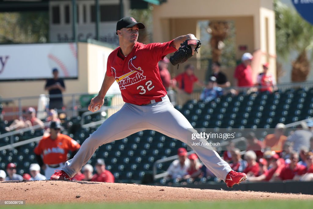 Jack Flaherty #32 of the St Louis Cardinals throws the ball against the Miami Marlins during the first inning of a spring training game at Roger Dean Chevrolet Stadium on February 23, 2018 in Jupiter, Florida. The Marlins defeated the Cardinals 6-4.