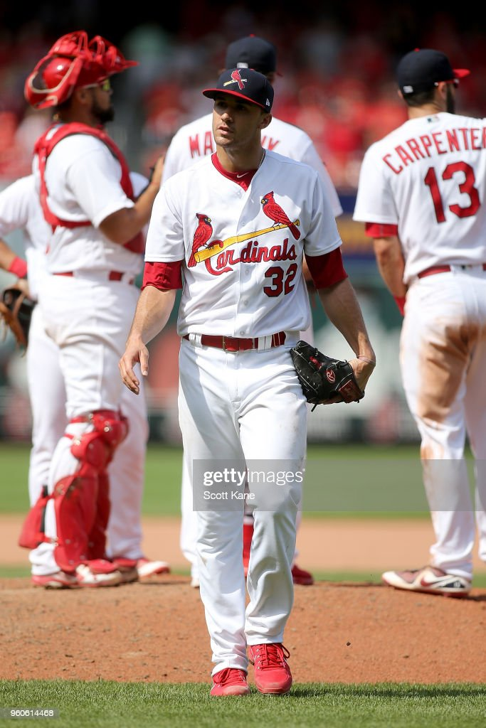 Jack Flaherty #32 of the St. Louis Cardinals walks to the dugout after being relieved from the mound during the eighth inning against the Philadelphia Phillies at Busch Stadium on May 20, 2018 in St. Louis, Missouri.