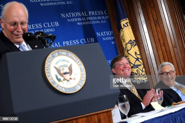 Jack Ford center chairman of the Gerald Ford Foundation and son of the late President and Henry Kissinger former Secretary of State react to a joke...