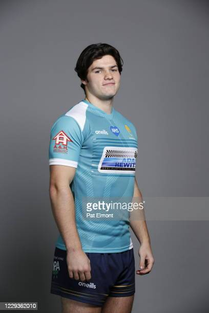 Jack Forsythe poses for a portrait during the Worcester Warriors squad photo call for the 202021 Gallagher Premiership Rugby season on on October 28...