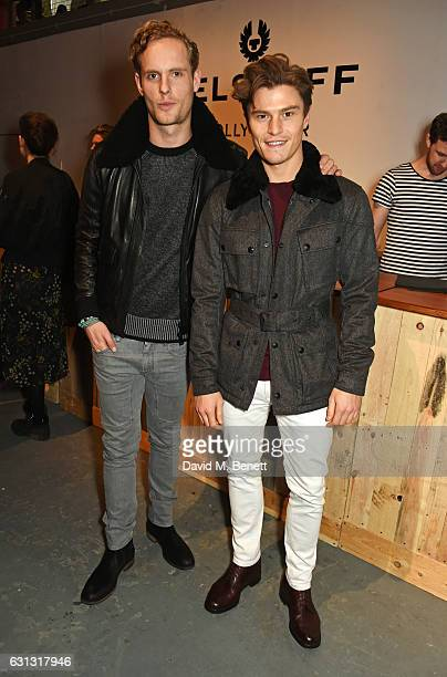 Jack Fox and Oliver Cheshire attend the Belstaff presentation during London Fashion Week Men's January 2017 collections at Ambika P3 on January 9...
