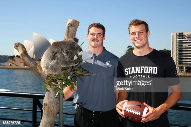 Jack Fox of the Rice Owls and Jake Bailey of the Stanford Cardinal pose with Tabbi the koala during the 2017 US College Football Sydney Cup Launch at...