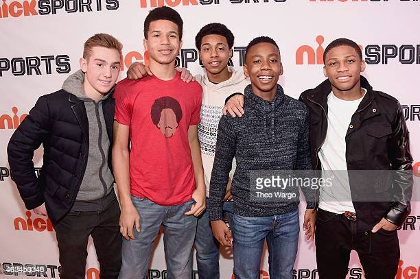 Jack Frankel, Cole Anthony, Kevin Greene, Judah McIntyre and Bryce Council attend NICKSPORTS special screening and party for Little Ballers...