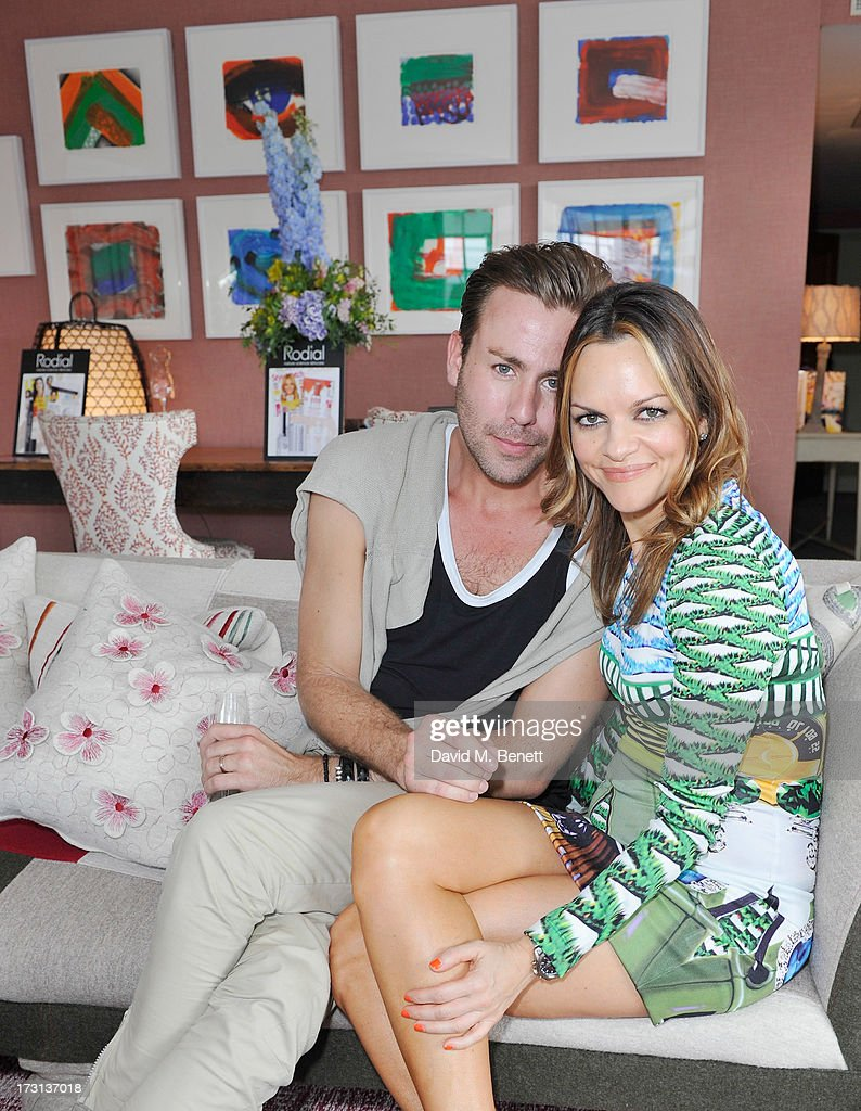 Jack French and Maria Hatzistefanis attend Mary Katrantzou for Rodial candle launch party at Soho Hotel on July 8, 2013 in London, England.