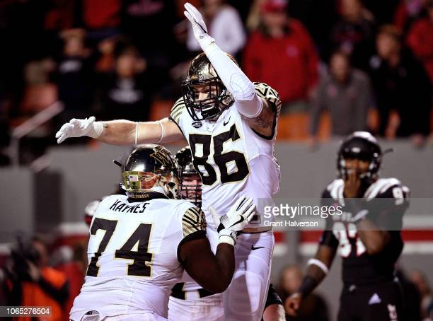 Jack Freudenthal of the Wake Forest Demon Deacons reacts after scoring the gamewinning touchdown during the fourth quarter of their game against the...
