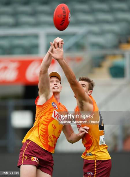 Jack Frost and Jack Payne of the Lions in action during the Brisbane Lions AFL preseason training session at University of Tasmania Stadium on...