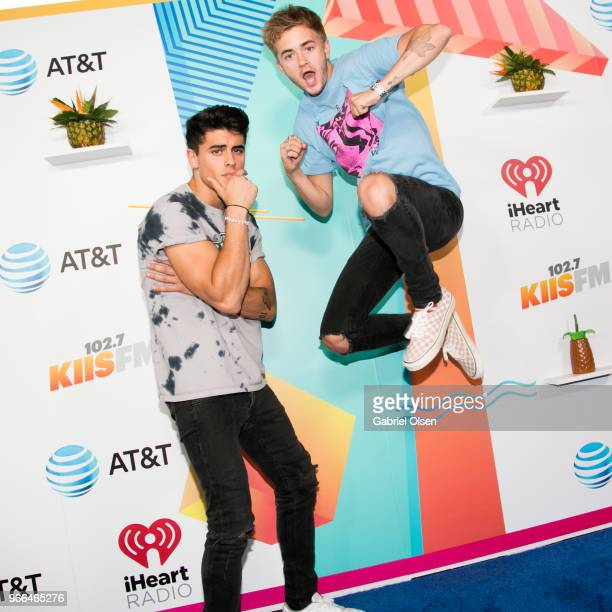 Jack Gilinsky and Jack Johnson of Jack Jack arrive for iHeartRadio's KIIS FM Wango Tango By ATT at Banc of California Stadium on June 2 2018 in Los...