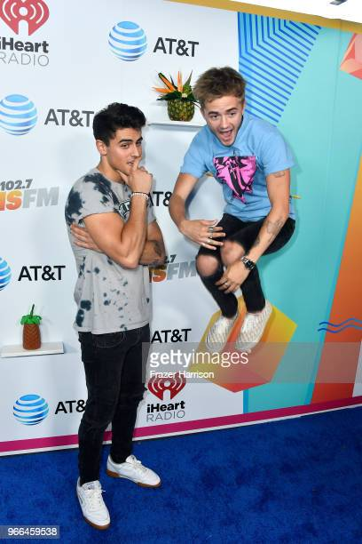 Jack Gilinsky and Jack Johnson of music group Jack Jack attend iHeartRadio's KIIS FM Wango Tango by ATT at Banc of California Stadium on June 2 2018...