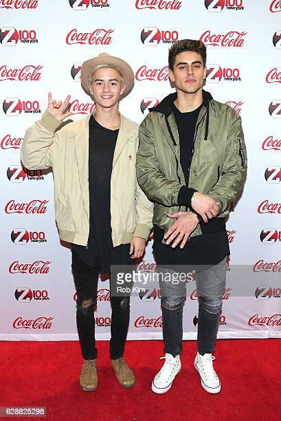 Jack Gilinsky and Jack Johnson of the band Jack Jack attend attends Z100 CocaCola All Access Lounge at Z100's Jingle Ball 2016 Presented by Capital...