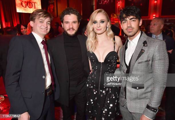 Jack Gleeson Kit Harington Sophie Turner and Joe Jonas attend the Game Of Thrones Season 8 NY Premiere After Party on April 3 2019 in New York City