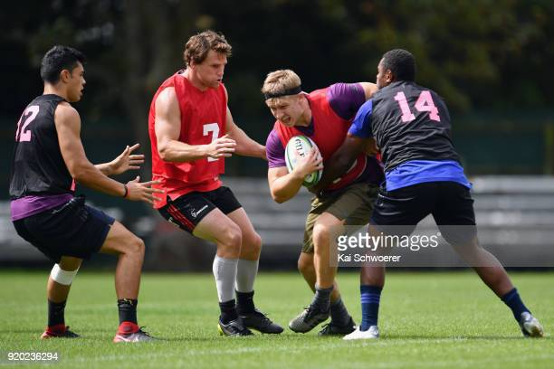 Jack Goodhue charges forward during a Crusaders Super Rugby training session at Rugby Park on February 19 2018 in Christchurch New Zealand