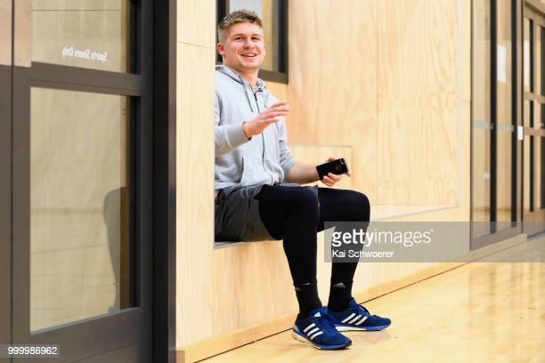 Jack Goodhue looks on following a Crusaders Super Rugby training session at St Andrew's College on July 16 2018 in Christchurch New Zealand