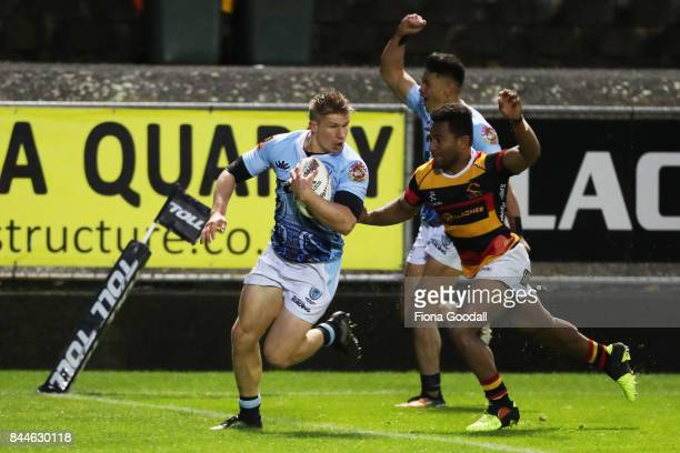 Jack Goodhue of Northland scores a try during the round four Mitre 10 Cup match between Northland and Waikato at Toll Stadium on September 9 2017 in...
