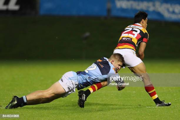 Jack Goodhue of Northland tackles Bailyn Sullivan of Waikato during the round four Mitre 10 Cup match between Northland and Waikato at Toll Stadium...