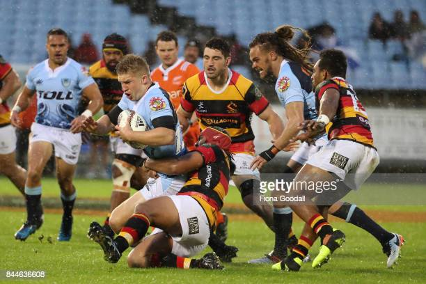 Jack Goodhue of Northland takes the ball up during the round four Mitre 10 Cup match between Northland and Waikato at Toll Stadium on September 9...
