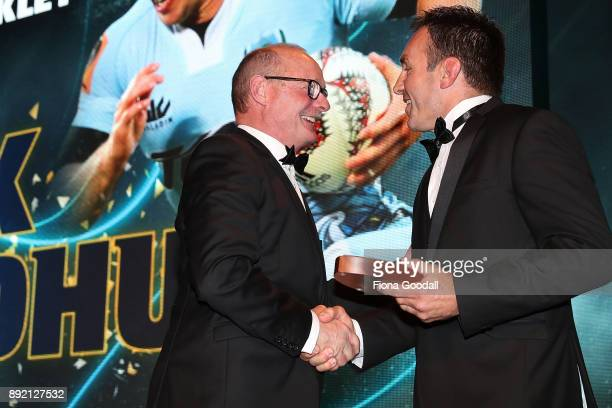 Jack Goodhue of Northland wins the Duane Monkley Medal accepted by Northalnd CEO Alistair McGinn during the ASB Rugby Awards 2018 at Sky City on...