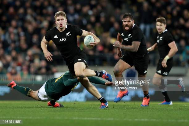 Jack Goodhue of the All Blacks charges forward during the 2019 Rugby Championship Test Match between New Zealand and South Africa at Westpac Stadium...