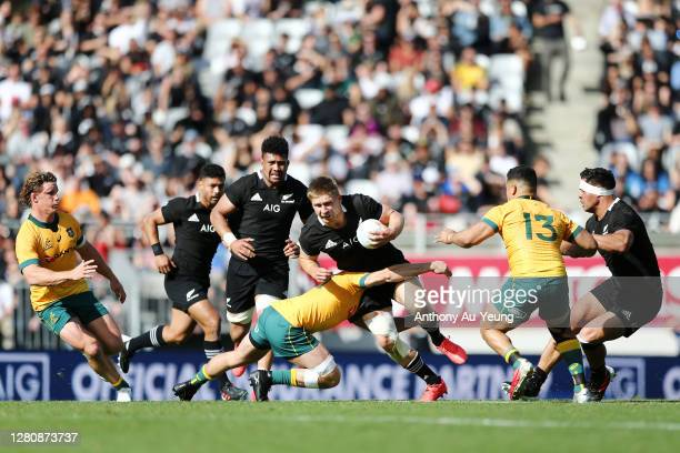 Jack Goodhue of the All Blacks on the charge during the Bledisloe Cup match between the New Zealand All Blacks and the Australian Wallabies at Eden...