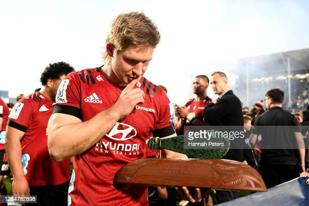 Jack Goodhue of the Crusaders celebrates after winning the round 9 Super Rugby Aotearoa match between the Crusaders and the Highlanders at...