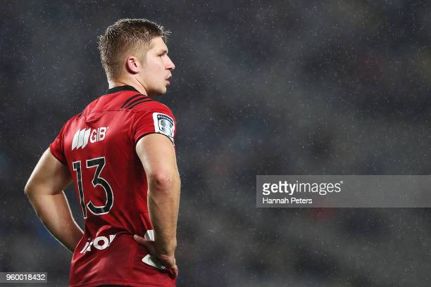 Jack Goodhue of the Crusaders looks on during the round 14 Super Rugby match between the Blues and the Crusaders at Eden Park on May 19 2018 in...