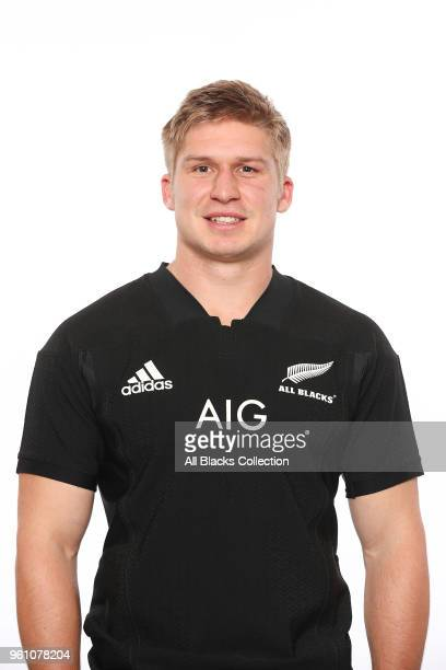 Jack Goodhue poses during a New Zealand All Blacks headshots session on May 21 2018 in Auckland New Zealand