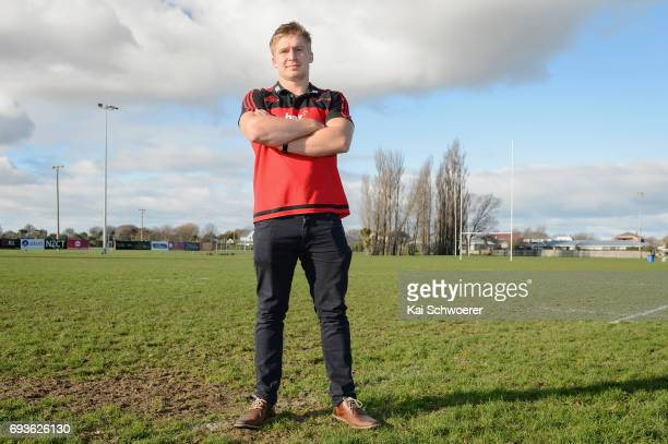 Jack Goodhue poses following a Crusaders media conference on June 8 2017 in Christchurch New Zealand