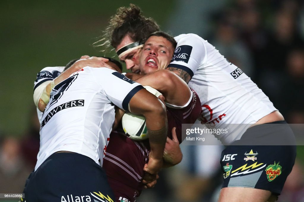 Jack Gosiewski of the Sea Eagles is tackled during the round 13 NRL match between the Manly Sea Eagles and the North Queensland Cowboys at Lottoland on May 31, 2018 in Sydney, Australia.