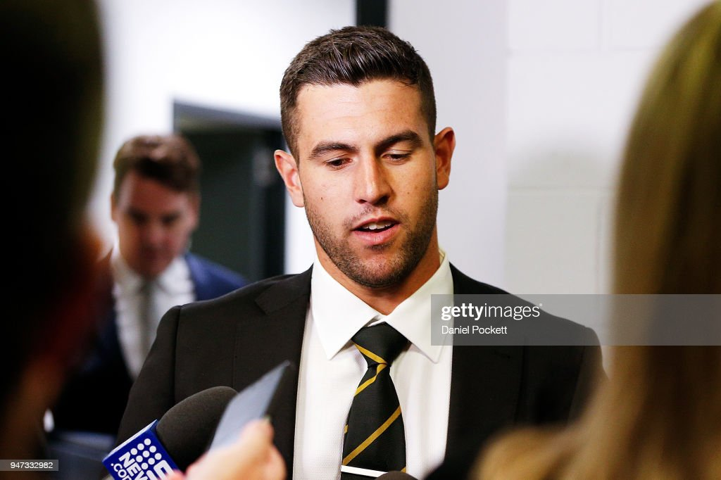 Jack Graham of the Tigers addresses the media after his ban was upheld at the AFL Tribunal on April 17, 2018 in Melbourne, Australia.