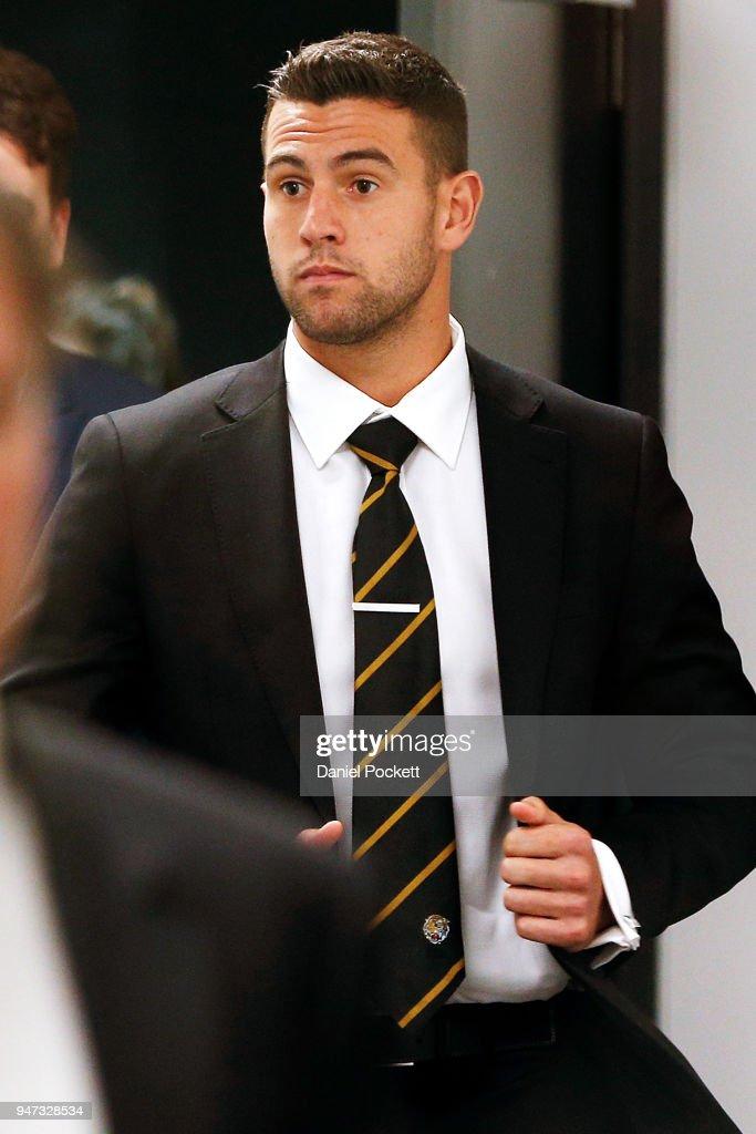 Jack Graham of the Tigers arrives at the AFL Tribunal on April 17, 2018 in Melbourne, Australia.