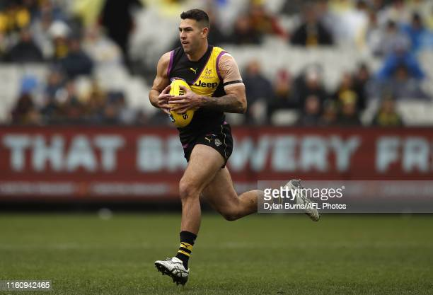 Jack Graham of the Tigers in action during the 2019 AFL round 21 match between the Richmond Tigers and the Carlton Blues at the Melbourne Cricket...