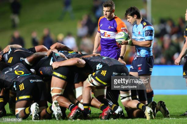 Jack Grant of the Waratahs feeds the scrum during the round five Super Rugby Trans Tasman match between the NSW Waratahs and Chiefs at Brookvale Oval...