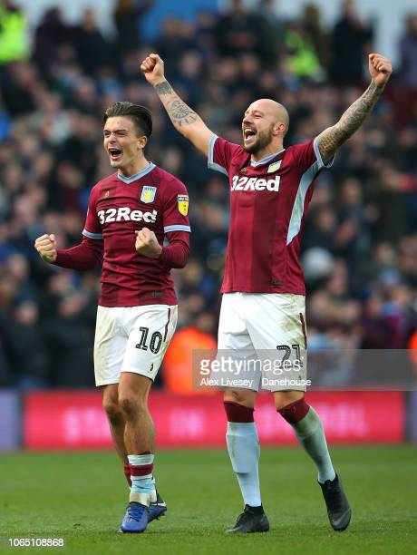 Jack Grealish and Alan Hutton of Aston Villa celebrate after the Sky Bet Championship match between Aston Villa and Birmingham City at Villa Park on...