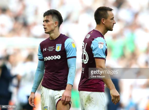 Jack Grealish and John Terry of Aston Villa look dejected following the Sky Bet Championship Play Off Final between Aston Villa and Fulham at Wembley...
