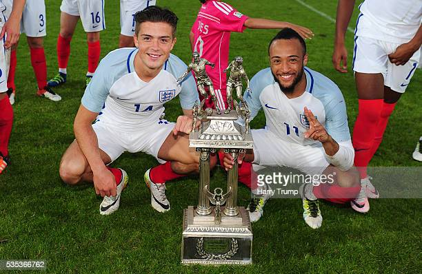 Jack Grealish and Nathan Redmond of England celebrate during the Final of the Toulon Tournament between England and France at Parc Des Sports on May...