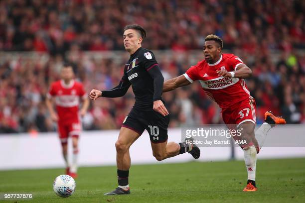 Jack Grealish of Aston Villa and Adama Traore of Aston Villa during the Sky Bet Championship Play Off Semi Final First Leg match between...