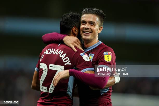 Jack Grealish of Aston Villa and Ahmed Elmohamady of Aston Villa celebrate the second goal during the Sky Bet Championship match at Villa Park on...