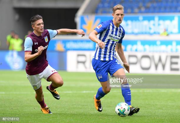 Jack Grealish of Aston Villa and Arne Maier of Hertha BSC during the game between Aston Villa and Hertha BSC on july 23 2017 in Duisburg Germany