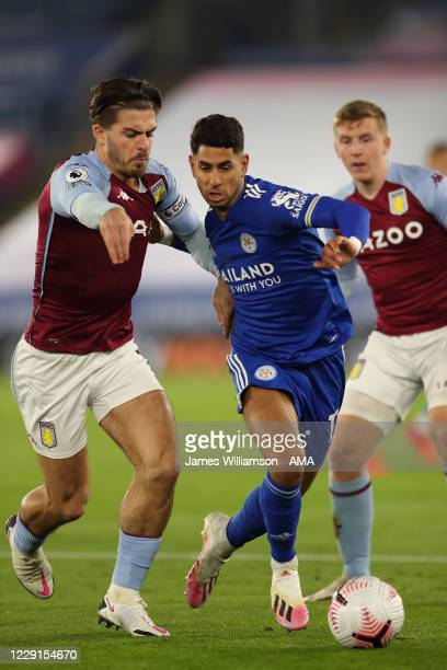 Jack Grealish of Aston Villa and Ayoze Perez of Leicester City during the Premier League match between Leicester City and Aston Villa at The King...
