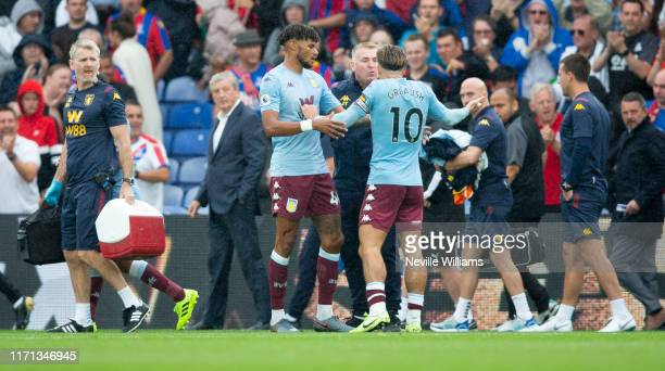 Jack Grealish of Aston Villa and Dean Smith head coach of Aston Villa after the Premier League match between Crystal Palace and Aston Villa at...