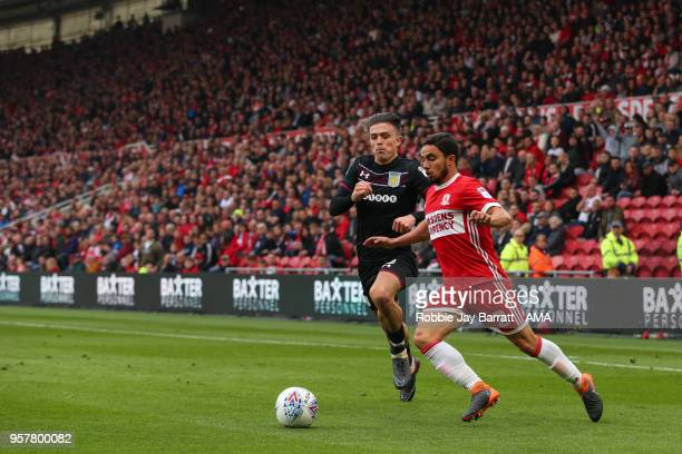 Jack Grealish of Aston Villa and Fabio of Middlesbrough during the Sky Bet Championship Play Off Semi Final First Leg match between Middlesbrough and...