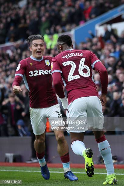 Jack Grealish of Aston Villa and Jonathan Kodjia of Aston Villa celebrates after scoring a goal to make it 11 during the Sky Bet Championship match...