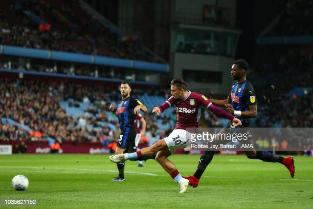 Jack Grealish of Aston Villa and Semi Ajayi of Rotherham United during the Sky Bet Championship match at Villa Park on September 18 2018 in...