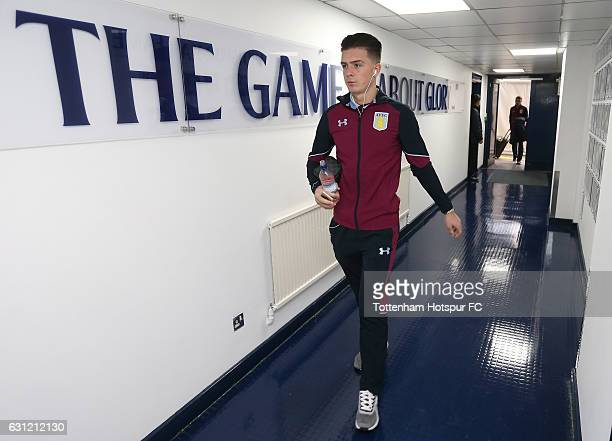 Jack Grealish of Aston Villa arrives at the stadium prior to The Emirates FA Cup Third Round match between Tottenham Hotspur and Aston Villa at White...