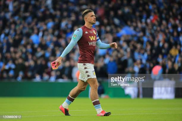 Jack Grealish of Aston Villa carries a pennant prior to the Carabao Cup Final between Aston Villa and Manchester City at Wembley Stadium on March 01,...